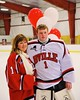 Baldwinsville Bees goalie Josh Smith (1) with his teacher on Teacher Appreciation Night at the Greater Baldwinsville Ice Arena in Baldwinsville, New York on Tuesday, January 20, 2015.