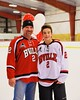 Baldwinsville Bees Tanner McCaffrey (2) with his teacher on Teacher Appreciation Night at the Greater Baldwinsville Ice Arena in Baldwinsville, New York on Tuesday, January 20, 2015.