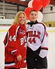 Baldwinsville Bees Shane Sweeney (44) with his teacher on Teacher Appreciation Night at the Greater Baldwinsville Ice Arena in Baldwinsville, New York on Tuesday, January 20, 2015.