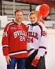Baldwinsville Bees Andy Rossler (24) with his teacher on Teacher Appreciation Night at the Greater Baldwinsville Ice Arena in Baldwinsville, New York on Tuesday, January 20, 2015.