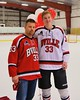 Baldwinsville Bees Jimmy Dugan (33) with his teacher on Teacher Appreciation Night at the Greater Baldwinsville Ice Arena in Baldwinsville, New York on Tuesday, January 20, 2015.