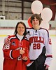 Baldwinsville Bees James Commey (28) with his teacher on Teacher Appreciation Night at the Greater Baldwinsville Ice Arena in Baldwinsville, New York on Tuesday, January 20, 2015.