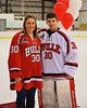 Baldwinsville Bees goalie Jeremy Rappard (30) with his teacher on Teacher Appreciation Night at the Greater Baldwinsville Ice Arena in Baldwinsville, New York on Tuesday, January 20, 2015.