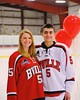 Baldwinsville Bees Isaiah Pompo (5) with his teacher on Teacher Appreciation Night at the Greater Baldwinsville Ice Arena in Baldwinsville, New York on Tuesday, January 20, 2015.