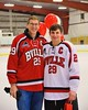 Baldwinsville Bees Matt Abbott (29) with his teacher on Teacher Appreciation Night at the Greater Baldwinsville Ice Arena in Baldwinsville, New York on Tuesday, January 20, 2015.