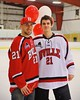 Baldwinsville Bees Adam Tretowicz (21) with his teacher on Teacher Appreciation Night at the Greater Baldwinsville Ice Arena in Baldwinsville, New York on Tuesday, January 20, 2015.