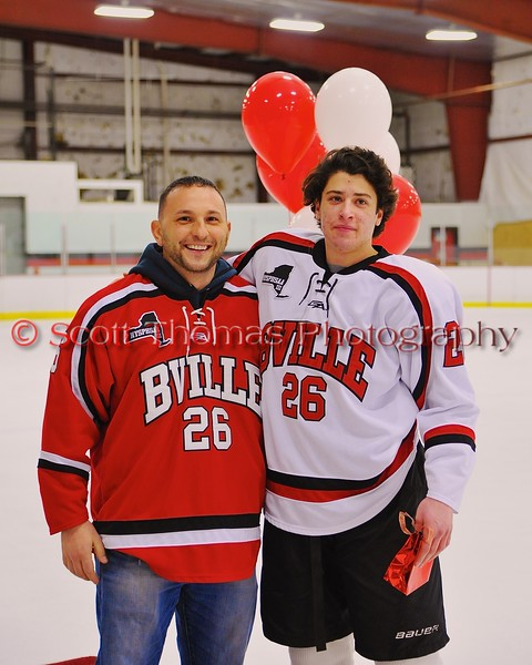 Baldwinsville Bees Kyle Lindsay (26) with his teacher on Teacher Appreciation Night at the Greater Baldwinsville Ice Arena in Baldwinsville, New York on Tuesday, January 20, 2015.