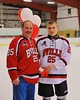 Baldwinsville Bees Andrew Starrantino (25) with his teacher on Teacher Appreciation Night at the Greater Baldwinsville Ice Arena in Baldwinsville, New York on Tuesday, January 20, 2015.