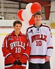 Baldwinsville Bees Dawson Giltz (10) with his teacher on Teacher Appreciation Night at the Greater Baldwinsville Ice Arena in Baldwinsville, New York on Tuesday, January 20, 2015.