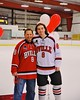 Baldwinsville Bees Riley Smith (8) with his teacher on Teacher Appreciation Night at the Greater Baldwinsville Ice Arena in Baldwinsville, New York on Tuesday, January 20, 2015.