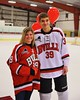 Baldwinsville Bees Brett Sabourin (39) with his teacher on Teacher Appreciation Night at the Greater Baldwinsville Ice Arena in Baldwinsville, New York on Tuesday, January 20, 2015.