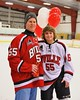 Baldwinsville Bees Anthony Pompo (55) with his teacher on Teacher Appreciation Night at the Greater Baldwinsville Ice Arena in Baldwinsville, New York on Tuesday, January 20, 2015.
