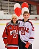 Baldwinsville Bees Chris Speelman (23) with his teacher on Teacher Appreciation Night at the Greater Baldwinsville Ice Arena in Baldwinsville, New York on Tuesday, January 20, 2015.