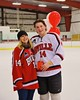 Baldwinsville Bees Charlie McAllister (14) with his teacher on Teacher Appreciation Night at the Greater Baldwinsville Ice Arena in Baldwinsville, New York on Tuesday, January 20, 2015.