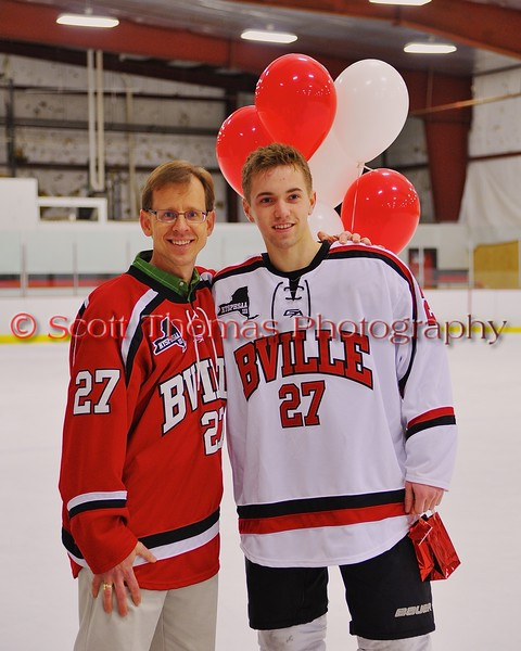 Baldwinsville Bees Matt Metcalf (27) with his teacher on Teacher Appreciation Night at the Greater Baldwinsville Ice Arena in Baldwinsville, New York on Tuesday, January 20, 2015.