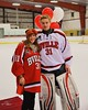 Baldwinsville Bees goalie Matt Sabourin (31) with his teacher on Teacher Appreciation Night at the Greater Baldwinsville Ice Arena in Baldwinsville, New York on Tuesday, January 20, 2015.