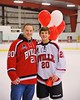 Baldwinsville Bees Ryan Gebhardt (20) with his teacher on Teacher Appreciation Night at the Greater Baldwinsville Ice Arena in Baldwinsville, New York on Tuesday, January 20, 2015.
