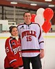Baldwinsville Bees Charlie Bertrand (15) with his teacher on Teacher Appreciation Night at the Greater Baldwinsville Ice Arena in Baldwinsville, New York on Tuesday, January 20, 2015.