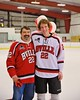 Baldwinsville Bees Matt Monaco (22) with his teacher on Teacher Appreciation Night at the Greater Baldwinsville Ice Arena in Baldwinsville, New York on Tuesday, January 20, 2015.