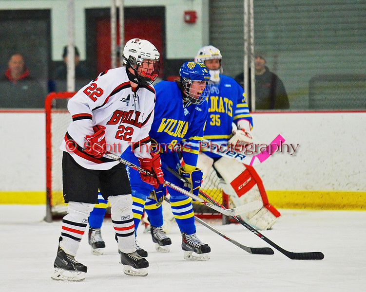 Baldwinsville Bees Matt Monaco (22) before a face-off with the West Genesee Wildcats at the Greater Baldwinsville Ice Arena in a Section III Division I Boys Hockey Playoff game at Baldwinsville, New York on Tuesday February 24, 2015.  Baldwinsville won 5-0.