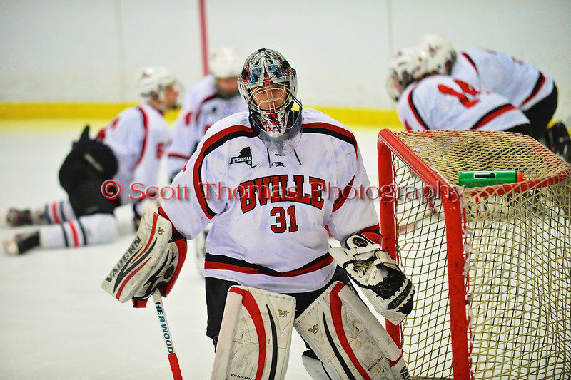 Baldwinsville Bees goalie Matt Sabourin (31) before playing the West Genesee Wildcats at the Greater Baldwinsville Ice Arena in a Section III Division I Boys Hockey Playoff game at Baldwinsville, New York on Tuesday February 24, 2015.  Baldwinsville won 5-0.