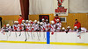 Baldwinsville Bees bench tapping sticks before the start of the second period against the West Genesee Wildcats at the Greater Baldwinsville Ice Arena in a Section III Division I Boys Hockey Playoff game at Baldwinsville, New York on Tuesday February 24, 2015.  Baldwinsville won 5-0.