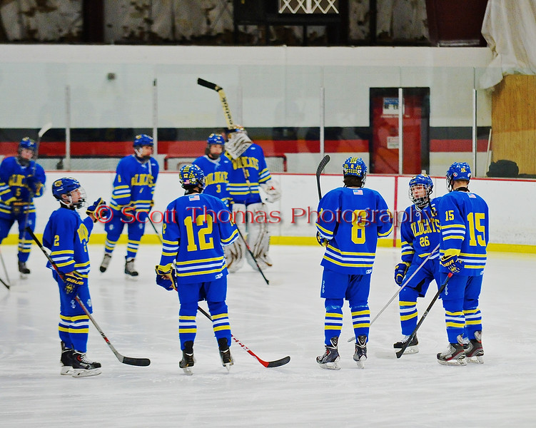 West Genesee Wildcats starting lineup of Conor Bartlett (2), Matthew McDonald (12), Ryan McDonald (8), David Procopio (26 and Derek Farrell (15) announced before playing the  Baldwinsville Bees at the Greater Baldwinsville Ice Arena in a Section III Division I Boys Hockey Playoff game at Baldwinsville, New York on Tuesday February 24, 2015.  Baldwinsville won 5-0.