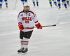 Baldwinsville Bees Senior Captain Matt Abbott (29) before playing the West Genesee Wildcats at the Greater Baldwinsville Ice Arena in a Section III Division I Boys Hockey Playoff game at Baldwinsville, New York on Tuesday February 24, 2015.  Baldwinsville won 5-0.