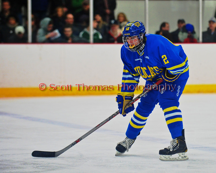 West Genesee Wildcats Conor Barlett (2) before a face-off against the Syracuse Cougars at Meachem Ice Rink in Syracuse, New York on Wednesday, January 28, 2015. Syracuse won 5-4.