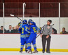 West Genesee Wildcats celebrate a goal against the Syracuse Cougars at Meachem Ice Rink in Syracuse, New York on Wednesday, January 28, 2015. Syracuse won 5-4.