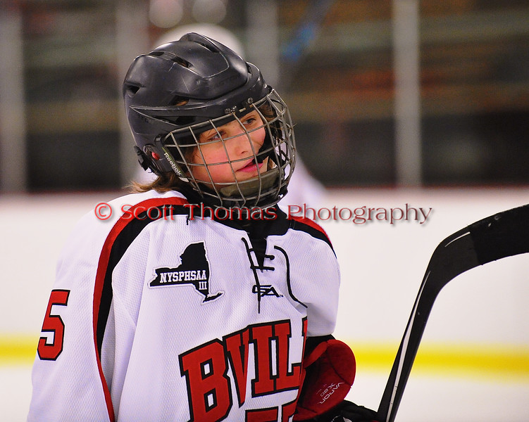 Baldwinsville Bees Anthony Pompo (55) after playing the Watertown IHC Cavaliers at the Greater Baldwinsville Ice Arena in Baldwinsville, New York on Tuesday January 20, 2015.  Baldwinsville won 10-0.