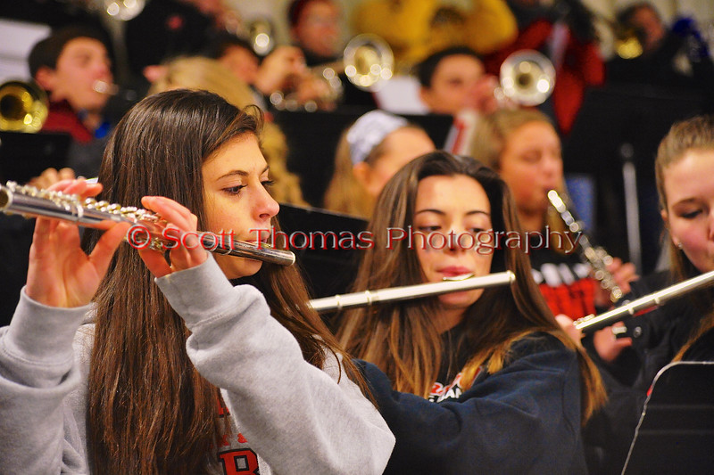 Baldwinsville Bees Pep Band plays before the Bees played the Watertown IHC Cavaliers at the Greater Baldwinsville Ice Arena in Baldwinsville, New York on Tuesday January 20, 2015.