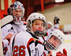 Baldwinsville Bees players Kyle Lindsay (26), goalie Matt Sabourin (31) and Matt Abbott (29) on the bench at the Greater Baldwinsville Ice Arena in Baldwinsville, New York on Tuesday January 20, 2015.
