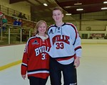 Baldwinsville Bees Jimmy Dugan (33) with his teacher, Mrs. Medwid, on Teacher Appreciation Night at the Lysander Ice Arena in Baldwinsville, New York on Monday February 8, 2016.