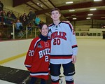 Baldwinsville Bees Ryan Gebhardt (20) with his teacher, Mrs. Byrne, on Teacher Appreciation Night at the Lysander Ice Arena in Baldwinsville, New York on Monday February 8, 2016.