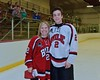 Baldwinsville Bees Tanner McCaffrey (2) with his teacher, Mrs. Sweeney, on Teacher Appreciation Night at the Lysander Ice Arena in Baldwinsville, New York on Monday February 8, 2016.