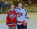 Baldwinsville Bees Jacob Abbey (29) with his teacher, Mr. Dice, on Teacher Appreciation Night at the Lysander Ice Arena in Baldwinsville, New York on Monday February 8, 2016.
