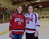 Baldwinsville Bees Charlie Bertrand (15) with his teacher, Mr. Ludden, on Teacher Appreciation Night at the Lysander Ice Arena in Baldwinsville, New York on Monday February 8, 2016.