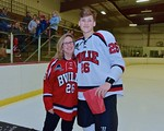 Baldwinsville Bees Zach Perez (26) with his teacher, Mrs. Schumacher, on Teacher Appreciation Night at the Lysander Ice Arena in Baldwinsville, New York on Monday February 8, 2016.