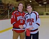 Baldwinsville Bees Connor Carhart (12) with his teacher, Mr. McCaffrey, on Teacher Appreciation Night at the Lysander Ice Arena in Baldwinsville, New York on Monday February 8, 2016.