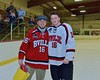 Baldwinsville Bees Carson Hayes (16) with his teacher, Mr. Pallotta, on Teacher Appreciation Night at the Lysander Ice Arena in Baldwinsville, New York on Monday February 8, 2016.