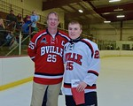 Baldwinsville Bees Andrew Starrantino (25) with his teacher, Mr. Mizer, on Teacher Appreciation Night at the Lysander Ice Arena in Baldwinsville, New York on Monday February 8, 2016.