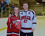 Baldwinsville Bees Matt Metcalf (27) with his teacher, Ms. DiCocco, on Teacher Appreciation Night at the Lysander Ice Arena in Baldwinsville, New York on Monday February 8, 2016.