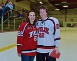 Baldwinsville Bees Matt Monaco (22) with his teacher, Mrs. Meany, on Teacher Appreciation Night at the Lysander Ice Arena in Baldwinsville, New York on Monday February 8, 2016.