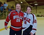 Baldwinsville Bees James Commey (28) with his teacher, Mr. Young, on Teacher Appreciation Night at the Lysander Ice Arena in Baldwinsville, New York on Monday February 8, 2016.