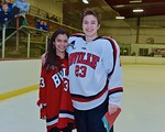 Baldwinsville Bees Chris Speelman (23) with his teacher, Mrs. Dotterer, on Teacher Appreciation Night at the Lysander Ice Arena in Baldwinsville, New York on Monday February 8, 2016.