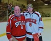 Baldwinsville Bees Riley Smith (8) with his teacher, Mr. Cuyler, on Teacher Appreciation Night at the Lysander Ice Arena in Baldwinsville, New York on Monday February 8, 2016.