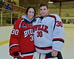 Baldwinsville Bees goalie Jeremy Rappard (30) with his teacher, Mrs. Hirschey, on Teacher Appreciation Night at the Lysander Ice Arena in Baldwinsville, New York on Monday February 8, 2016.