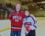 Baldwinsville Bees Shane Sweeney (44) with his teacher, Mr. Sweeny, on Teacher Appreciation Night at the Lysander Ice Arena in Baldwinsville, New York on Monday February 8, 2016.