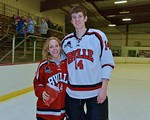 Baldwinsville Bees Brian Waldon (14) with his teacher, Ms. Mathis, on Teacher Appreciation Night at the Lysander Ice Arena in Baldwinsville, New York on Monday February 8, 2016.